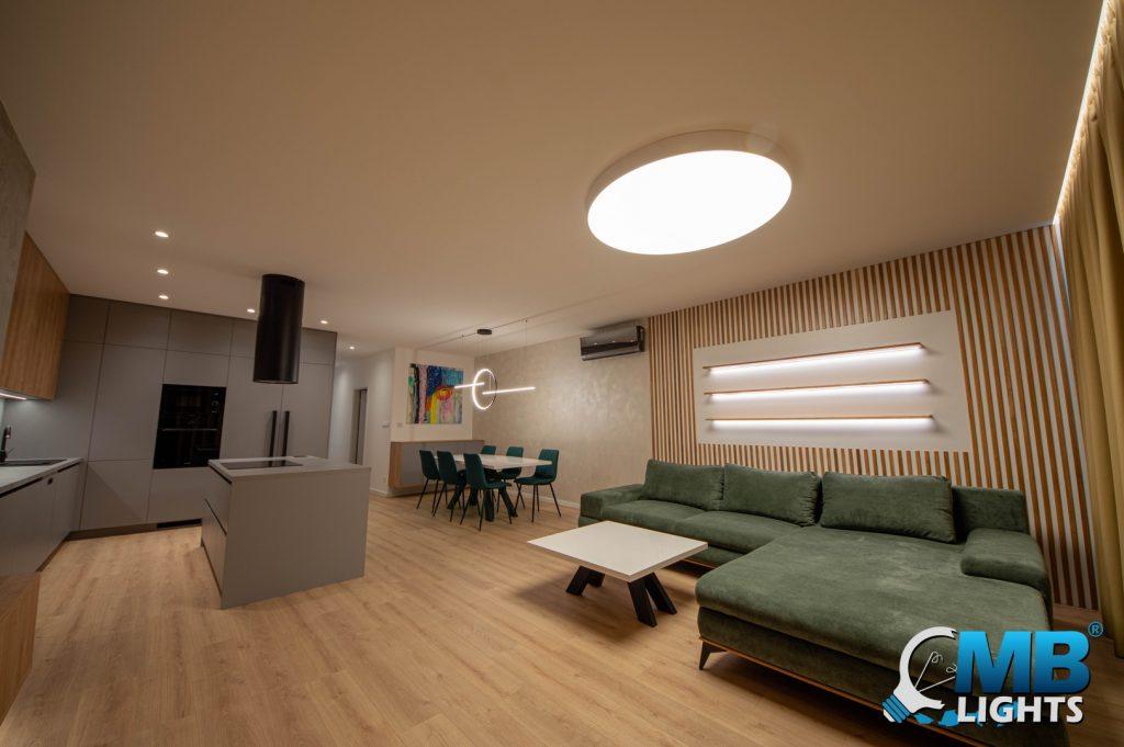 osvetlenie obýacej izby s kuchyňov